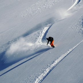 Marnix anticipating his next powder turn - and there were more to come