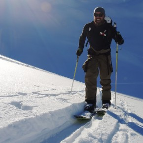 Bas enjoying skinning up the lonely Val di Campo