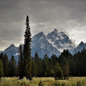 The Grand Teton seen from the plains 2000 m below